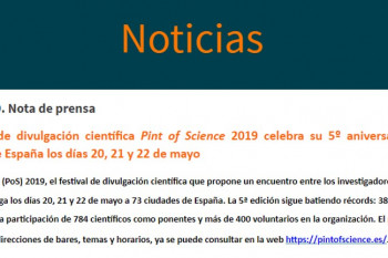 Pint Of Science en los medios. NOTA DE PRENSA